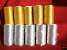 10 Metallic Embroidery 5 Gold 5 Silver threadSpools