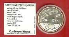 PIECE10 EUROS FINLANDE  ARGENT 2005 60 ANS DE LIBERTE 25,5 Grs 925/1000