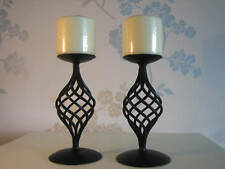 """Candle Holder Hand Crafted Wrought Iron /""""Denbigh/"""" Pair"""