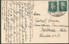 1515 GERMANY TO CHILE POSTCARD 1931 RAILWAY CANCEL NEUSTADT - KAISERSLAUTERN