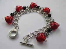Handmade Red Heart & Black Bead ~ Flower Charm Chain Bracelet - Mum Sister Gift