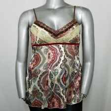 Vanity Top XL Women's Brown Boho Sequin Paisley Lace Spaghetti V-Neck Tie Back