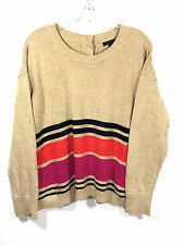 Tommy Hilfiger Sweater Tan Textured Buttons Down Back Striped Womens Large L
