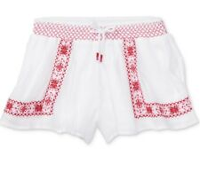 NWT~POLO RALPH LAUREN~Floral Embroidered Smocked Gauze Shorts~White/Pink~3T $45