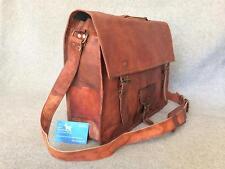 "Handmade Goat Leather 17"" Laptop Bag SXLP+ Satchel Briefcase *Free Leather Care*"