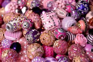 20 pieces Jesse James Beads Pink & Purple , Indonesian, Hand Beaded JJB501