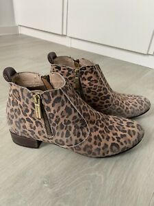 Russell & Bromley Zip Code Leopard Animal Print Suede Ankle Boots Size 39 UK 6