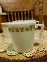 Vtg 4 Pyrex Butterfly Gold Coffee Cup Mug D Handle Milk Glass Corelle Pattern