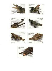 Tanzania 1996 - Set of 7 Crocodile Stamps - MNH