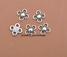 100pcs Tibetan Silver Charms Flower Connector 9X2mm DIY Findings D3402