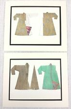1922 Pair of Antique Prints Costume Tatar Turkic ethnic People Traditional Dress