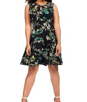 Julian Taylor Black Floral Fit And Flare Dress With Neckline Detail Size 16W