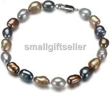 "genuine 8-9mm Multicolor freshwater pearl baroque bracelet 7.5"""