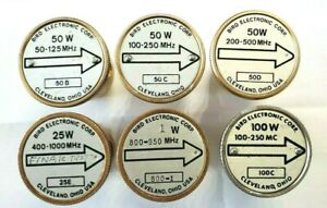 Lot of 6 Bird Wattmeter Element Slugs 1W, 25W, 50W, 100W FITS MODEL 43