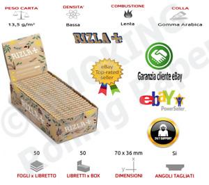 2 x BOX Cartine Rizla  Natura Corte In Canapa SINGOLE Scatola Da 50 Libretti