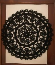 """Crotchet Cotton 10"""" DOILY in BLACK hand made for table or Dreamcatcher"""