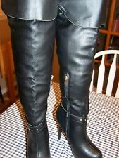 """Luxe by Justfab Sandrine Womens Knee-High Boots SZ 8.5 Black Synthetic 5"""" Heel"""