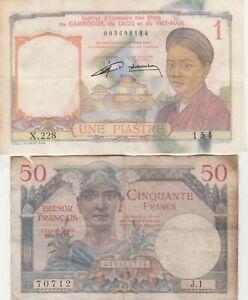 Lot de 2 billets Français: Piastre d' Indochine & 50 Francs Trésor Français.
