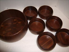 "Vintage 1960""s Quality Heirloom Walnut Wood  Salad set 7 Bowls."