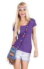 Hippie Damen Handtasche mit Peace Zeichen Flower Power Fasching Kostüm Zubehör