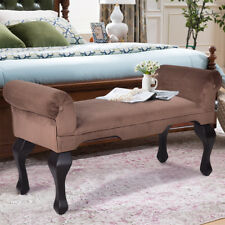 "45"" Microfiber Rolled Arm Bed Bench Seat Chair Upholstered Wood Leg Brown"