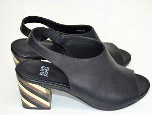 Eileen Fisher Women Black Size 7 Peep Toe Heel Vero Cuoio Sandal Shoe