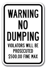 "NO DUMPING ALLOWED VIOLATORS PROSECUTED 12"" x 8"" Aluminum Sign UV made USA"