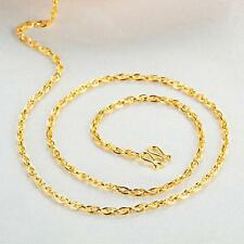 Real Pure 999 24K Yellow Gold Chain Women Lucky Hinge Necklace 16.5inch /3.1g