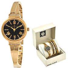 Anne Klein Black Glossy Dial Ladies Watch and Bracelet Set AK-3414BKST