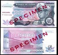 Zaire P-45s 1000000 SPECIMEN 45 Zaires 1993 1,000,000 UNC