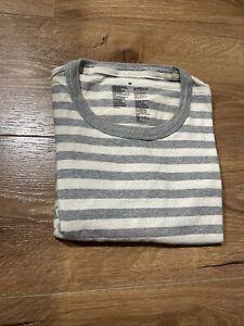 Men Muji Striped T-Shirt Heavy Weight Crewneck Size Medium M - Excellent Cond.