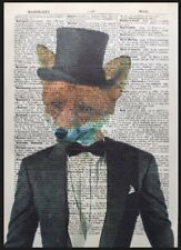 Fox Print Vintage Dictionary Page Art Picture Animal In Wearing Clothes Suit Tux