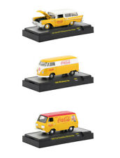 """COCA-COLA"" YELLOW SET OF 3 CARS 1/64 DIECAST MODELS BY M2 MACHINES 52500-YR01"