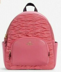 New Coach C4094 Court Backpack with Ruching Nylon & Pebble Leather Confetti Pink