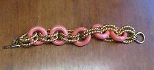 Kenneth Jay Lane Bracelet KJL CORAL Acrylic & Gold Rope Link Toggle Statement