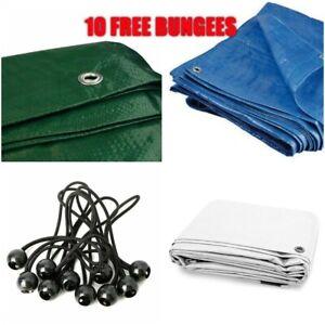 7 COLOURS Tarpaulin Waterproof Furniture  Cover Sheet Multipurpose + 10 BUNGEES