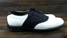 Allen Edmonds Redan  Spiked Golf Shoes  11.5D White Grain/Navy