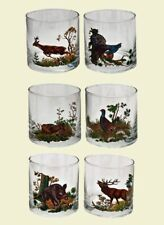 Set of 6 Whiskey Glasses with Animals Gift Deer Boar Rabbit Pheasant Hunters New