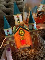 English Village Christmas Lighted Holiday Church Old Cotswold Porcelain
