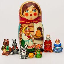 Wooden Matryoshka Nesting Doll Hand Painted Kolobok Russian Fairy Tale