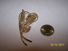 Unsigned goldtone and faux pearls leaves brooch pin.  No missing stones.