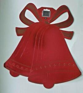 1996 Beistle Red Metallic Bells Die Cut Wall Hangings New