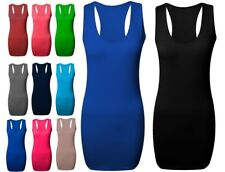 New Ladies Long Racer Back Bodycon Muscle Vest Top Womens Top Size 8-26