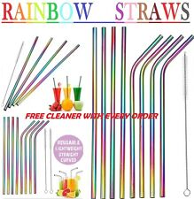 RAINBOW Metal Drinking Straws Steel Drinks Party Straw Cleaner Reusable Bar