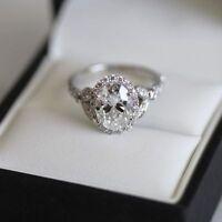 14k White Gold Halo Oval Cut 2.00 Ct VVS1 Diamond Engagement Wedding Ring