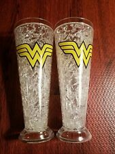 2 New Wonder Woman Logo Clear Acrylic Double Walled Freezer Tall Pilsner Glass