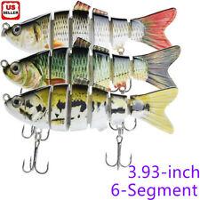 6-Segment Multi Jointed Fishing Lures Fishing Bait Crankbait Hooks Swimbait US