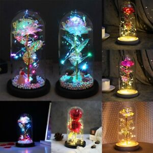 Beauty and the Beast LED Light Enchanted Rose in Glass Dome Valentine's Day Gift