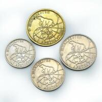 Spitzbergen 1993 4 coin set 10 25 50 100 Roubles Svalbard Russia Polar Bear Rare