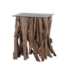 Teakholz Couchtisch Bistrotisch Tisch Beistelltisch Teakholzäste 80x80cm